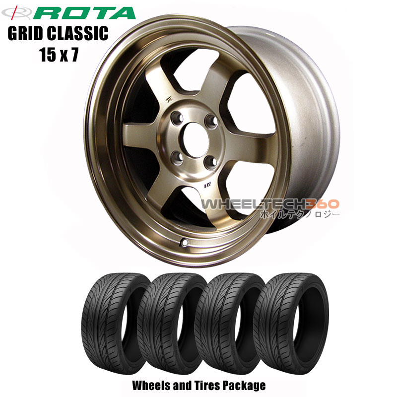 ROTA Wheels Grid Classic (15x7) Wheels and Tires Package
